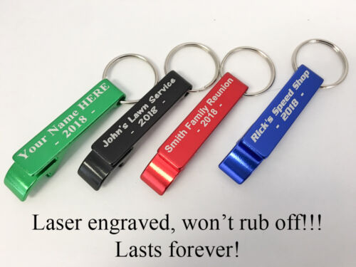 50pcs Custom Engraved GREEN METAL BOTTLE OPENER KEYCHAIN PERSONALIZED