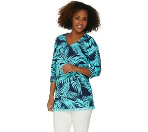 Belle-By-Kim-Gravel-Triple-Luxe-V-Neck-Tunic-with-Mini-Tassels-Small-Size-QVC