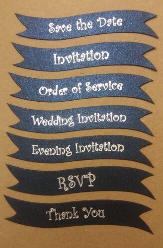 Wedding invitation bannières-bleu foncé sparkles silver foil écrit 25 per pack