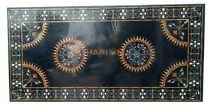 7'x4' Marble Dining Conference Table Top Semi Precious Inlaid Office Decor B267