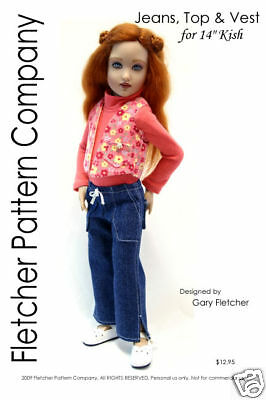 """Pants Top /& Vest Doll Clothes Sewing for 14/"""" Kish Fletcher Pattern Company"""