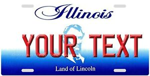 Illinois YOUR TEXT Personalized Custom Aluminum Vanity License Plate Tag New