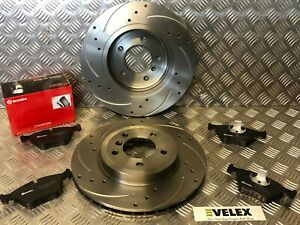 BMW-330CI-330D-330i-E46-FRONT-DRILLED-amp-GROOVED-DISCS-WITH-BREMBO-PADS-99-05
