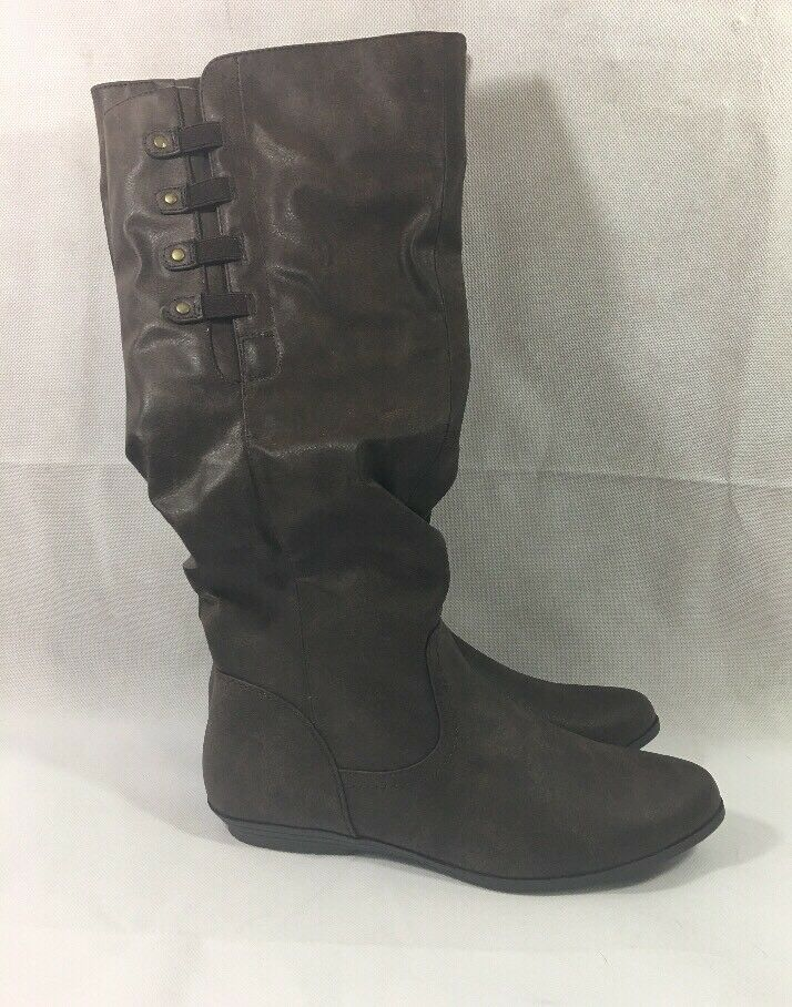 Mountain Sole Women's Frida Tall Slouch Boots Brown Faux Leather Size 8
