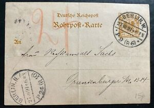 1891-Berlin-Germany-Pneumatic-Mail-Postal-stationery-Postcard-Cover