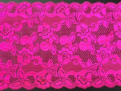 """laverslace Bright Hot Pink Wide Stretch Eyelet Tulle Lace Trim 7.25/""""//18.5cm"""