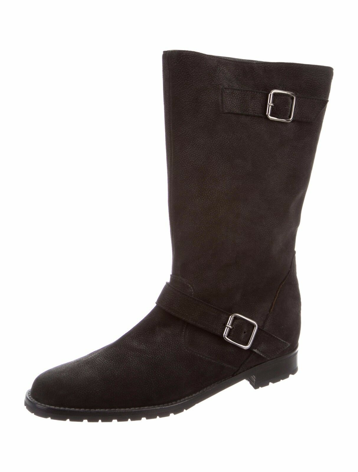 $1495 New MANOLO BLAHNIK Black Nubuck Leather Motto Flat CAMPO BOOTS Shoes 40