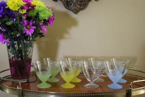 Set of 8 Glass Sherbets, Green, Yellow, Blue Ice Cream Sundae Cups, Arc France G