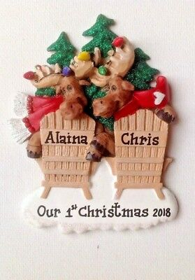 Moose Family of Two, Twins Personalized Christmas Ornament ...