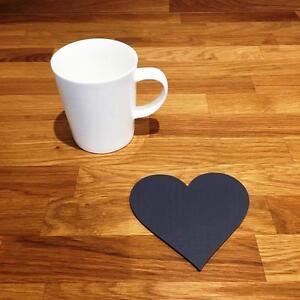 """En Forme De Cœur Graphite Mat Gris Acrylique Coasters, Ensembles De 4, 6 Ou 8, 11 Cm 4""""-afficher Le Titre D'origine"""