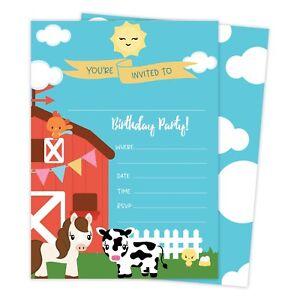 farm barnyard happy birthday invitations invite 25ct w envelopes