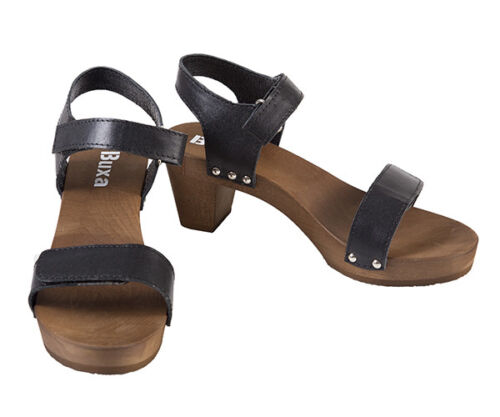 schwarz 06 15 Elegante Holz Leder 1 35 Echt Schweden Clogs Gr 30 qXpaw