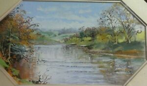 Original-Watercolour-Painting-by-John-H-Instance-of-River-Severn-Worcestershire