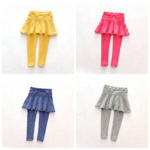 78918c1464ac3 Cute Kids Baby Toddler Girls Pantskirt Warm Culotte Pants Leggings ...