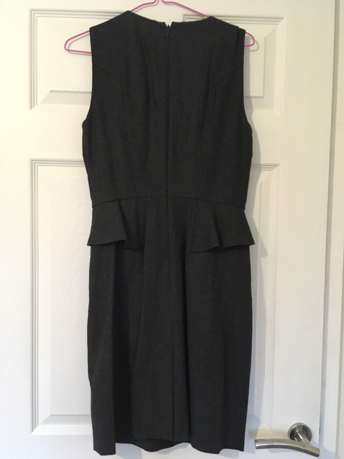 French Connection wiggle pencil dress peplum grey size 8