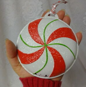 Vintage Christmas Ornaments Peppermint Candy Cane Metal
