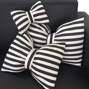 Black White Striped Chiffon Bowknot Sofa Bed Decorative Soft Pillow
