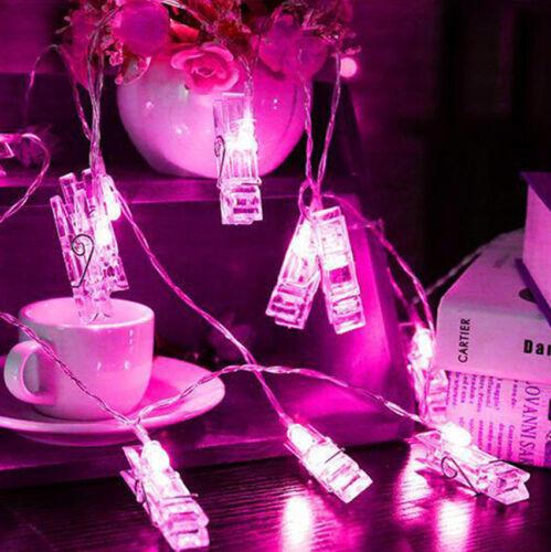 10 LED Photo Peg Clip Fairy String Lights Wedding Banquet Party House Decoration