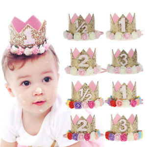 KE-Princess-Baby-Girl-1st-Birthday-Flower-Crown-Party-1-amp-2-Year-Hairband-Tiara