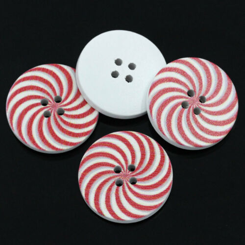 Red and White Swirly Wooden Button 30mm Crafts, 3cm Button art Sewing