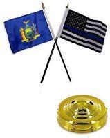 York State & Usa Police Blue 4x6 Flag Desk Set Table Stick Gold Base