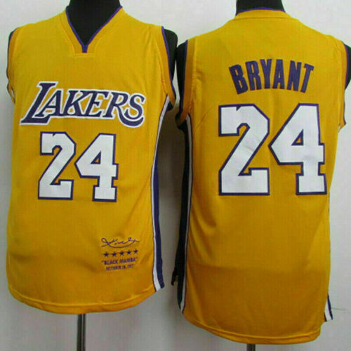 Kobe Bryant Yellow #24 Swingman Basketball Jersey Los Angeles  Mamba Sport Vest