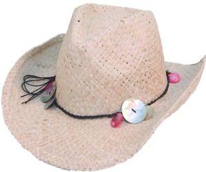 NUEVO-de-Mujer-Paja-Vaquero-Moda-Verano-Sombreros-Con-Cuentas-Banda-amp-SELF