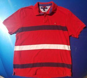 VTG-Tommy-Hilfiger-Red-White-Blue-Striped-Color-Block-Polo-Shirt-Men-039-s-SZ-XL