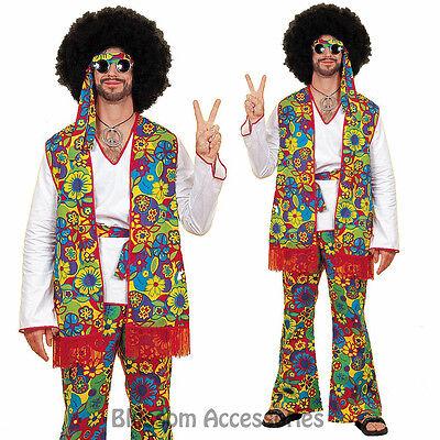 K12 Hippie Mens 60/'s 70/'s Disco Peace Groovy Halloween Fancy Dress Adult Costume
