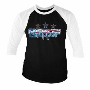 Licenza-Ufficiale-American-Chopper-Bandiera-Logo-Baseball-3-4-Maniche-T-Shirt