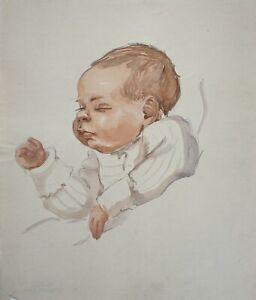 Charlotte-Zurek-1910-1971-per-Bambino-Rosso-Blond-Sleeping-Toddler-Ritratto