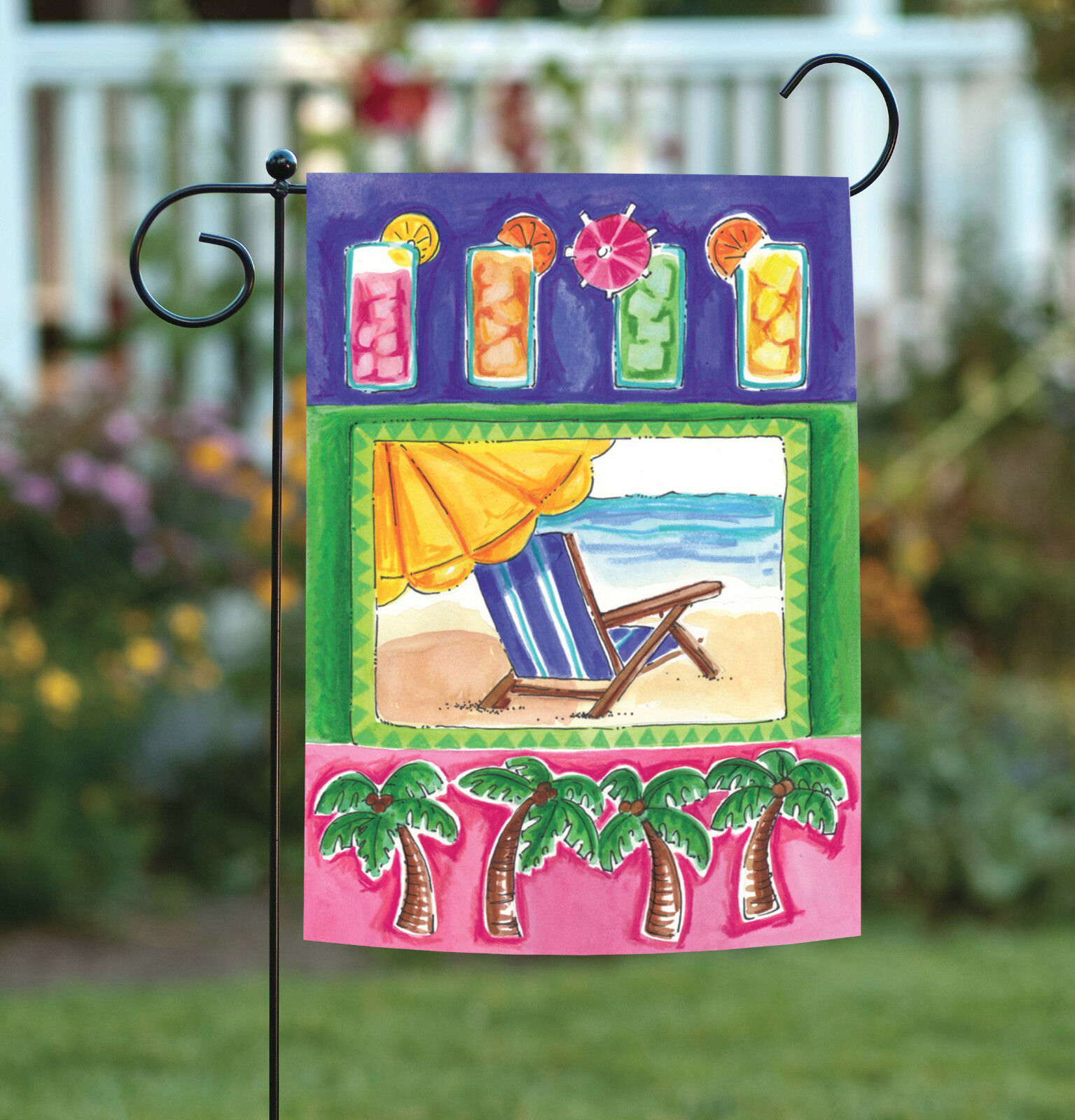 Toland Summer Fun Four Palms 12 5 X 18 Colorful Cocktail Beach Garden Flag For Sale Online