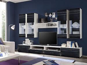 Das Bild Wird Geladen Wohnwand Anbauwand AILEEN Schrankwand Wohnzimmer  Schwarz Weiss LED
