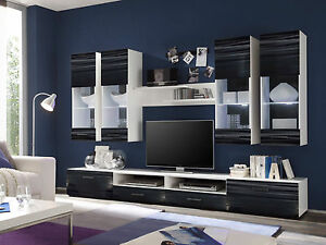 Wohnwand Anbauwand AILEEN Schrankwand Dekor Schwarz Weiß + LED Beleuchtung