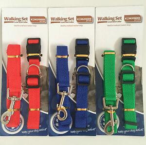 Adjustable-Dog-Collar-And-Lead-Set-Nylon-Fabric-1-2m-Pet-Walking-Puppy-Leash
