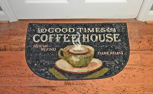 19x32 Coffee Cup Good Times Cafe Brown Beige Slice Kitchen
