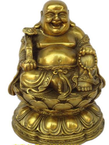 China very good brass maitreya Buddha statue Sit the lotus