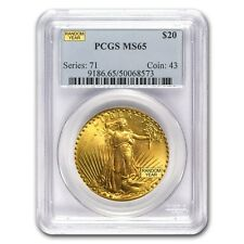 $20 Saint-Gaudens Gold Double Eagle Coin - Random Year - MS-65 PCGS - SKU #7225