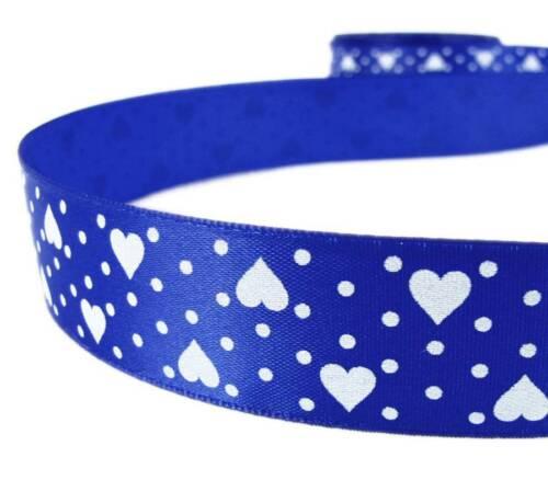 """5 yardas Venta San Valentín Corazones Lunares Blancos Azul Cinta de Raso 7//8/""""W"""