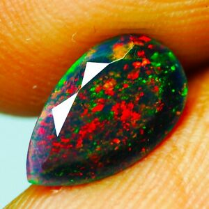 0.91 Carat 10.83x6.42mm NATURAL OPAL Black Fire Pear for Setting