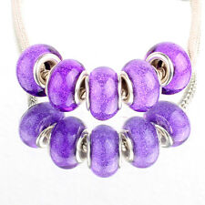 Bling purple 5pcs SILVER MURANO bead LAMPWORK fit European Charm Bracelet