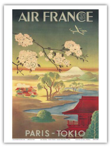Air France Paris Tokyo Cherry Blossoms  1952 Vintage Airline Travel Poster Print