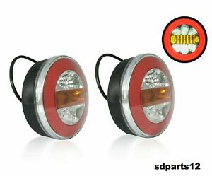 2x-Feux-Neon-LED-Rond-Hamburger-Arriere-Lampe-Clignotant-Remorque-Camion-Fourgon