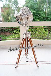 Details About Floor Lamp Chrome Spotlight W Wooden Revolving Tripod Hollywood Vintage Studio