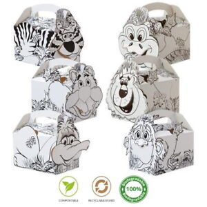 40 Jungle Animal Colouring In Boxes ~ Childrens Fun Party Food Snack Meal Box