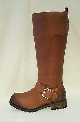 Clarks Nixon Tan Brown Leather Knee High Length Boots Ladies Womens UK Size 4 D