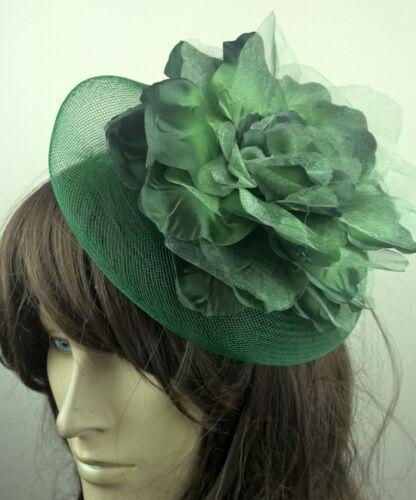 dark green satin flower crin fascinator hair clip headpiece wedding party piece