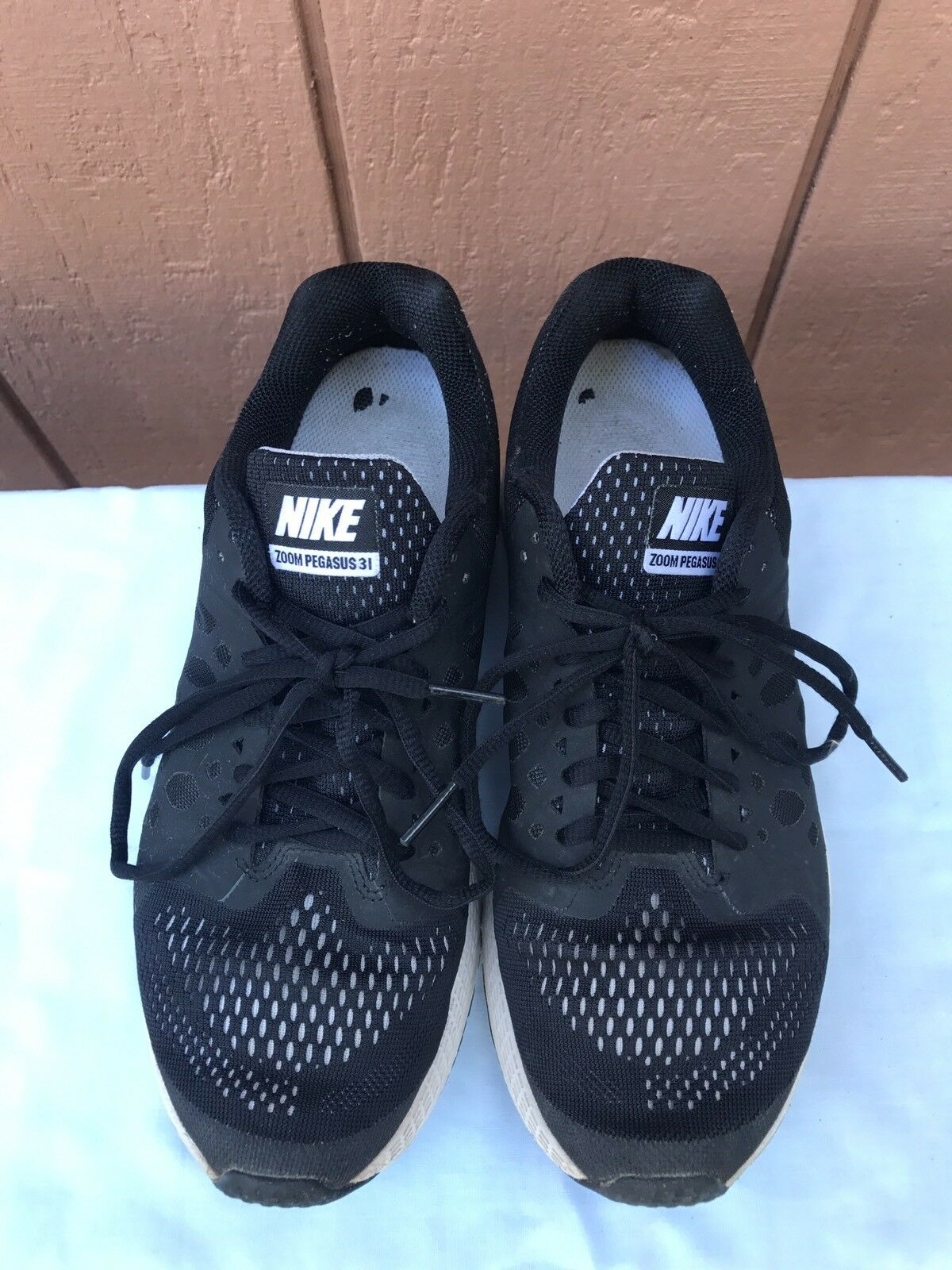 competitive price 4c9a6 0d9fb ... spain nike air zoom pegasus 31 womens us 9.5 654486 010 running shoe  black white 654486