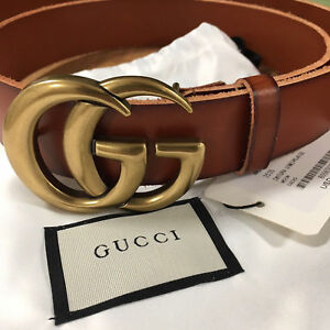 447d4d819 Auth GUCCI Brown MARMONT 4cm Belt GOLD GG Buckle size 100/40 fits 34 ...