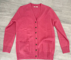Wool-overs-Pink-Ladies-Cardigan-Size-M-Long-Sleeve-Button-Down-Winter-Warm